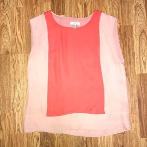 J. Crew 100% silk blush papaya colorblock shell